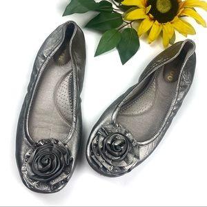 Me Too Metallic Ballet Flats Lulus Flower Appliqué